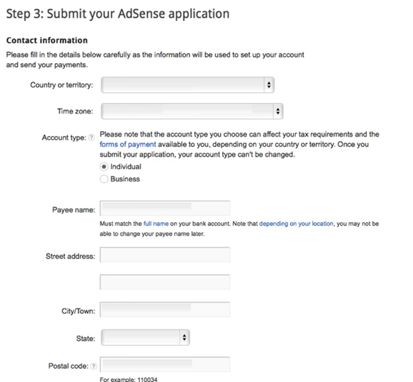 create an adsense account contact information