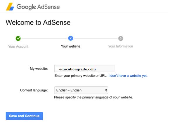 create an adsense account website detail