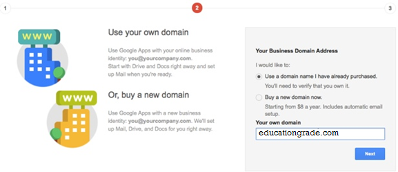 google apps Custo Email ID business name