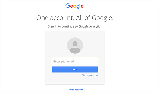 google analytics sign up