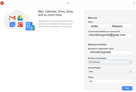 google apps Custo Email ID